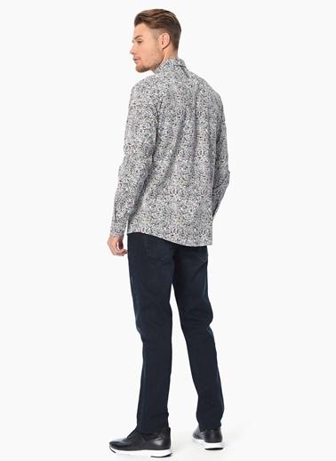 Que Baskılı Slim Fit Uzun Kollu Gömlek Siyah